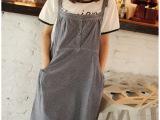 日式森女系 学院风侧口袋复古灰蓝色可调节吊带连衣裙子
