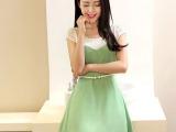 2014夏季新款女装韩版东大门优雅修身荷叶边裙圆领短袖雪纺连衣裙