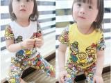 15夏季女童套装 韩版纯棉卡通男女童套装 特价批发