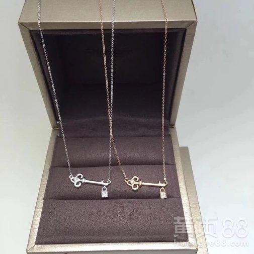 蒂芙尼卡地亚专柜同款18k金钻石钥匙锁项链可定制