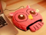 新奇特多色卡通毛绒猫头鹰冬季地摊多功能USB保暖鼠标垫批发