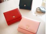 韩版新款女士潮钱包 糖果色时尚皇冠学生短款三折卡包零钱女包