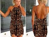 2015速卖通外贸新款 女装性感连衣裙豹纹漏肩露背修身吊带沙滩裙