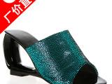 2014新款女鞋厂家直销镂空坡跟女士凉鞋羊皮凉拖鞋批发 鞋子分销