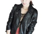 2014新款女装热销水洗pu皮斜拉链机车皮衣 短款外套 帅气皮衣