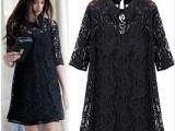 2014春装新款蕾丝连衣裙 女欧美风格中袖翻领连衣裙 女装批发