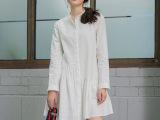春款定制零售女白色长袖不规则衬衫百搭修身