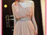8002#2014年 韩版单肩露背洋装裙 钉珠装饰修身显瘦连衣裙