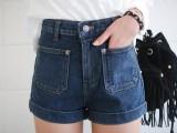 2015夏潮韩版黑白色裤子 显瘦胖mm加大码女高腰牛仔热裤