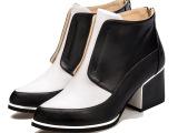 欧洲站2014 真皮女靴女靴新款骑士靴 短筒靴小尖头鞋拼色粗跟鞋
