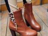 冬季温暖系VIVI杂志款女靴新款欧美高跟裸靴机车靴豹纹侧拉链短靴