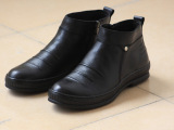 外贸原单 新款时尚休闲运动真皮男士手缝皮鞋 高帮黑皮鞋一件代发