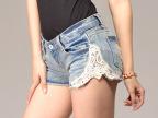(实拍)新款韩版修身蕾丝拼接牛仔短裤潮女士热裤打底裤