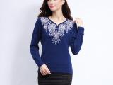 2014新款秋冬季女式气质高贵优雅提花镶钻长袖V领 貂绒 毛衣女