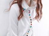 钉珠镶钻长袖雪纺衬衣上衣打底衫女式韩版翻领衬衫