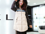 品牌正品女式棉衣 时尚韩版拼接撞色中长款棉衣女毛毛领连帽棉衣