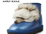 2013新款5854雪地靴狐狸头光面矮筒低筒牛筋底真皮牛皮雪地靴