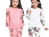 2014春款童装 新款韩版童装碎花运动童套装 女童两件套 一件起