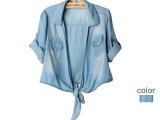 40-4-6-005流行女装批发 欧美风格女式轻薄短款无扣牛仔衬