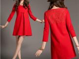 2015欧美女装 春装新款新年装气质大红色蕾丝拼接短裙连衣裙
