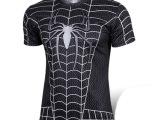 漫威短袖蜘蛛侠t恤 复仇者英雄联盟套装户外速干运动休闲骑行衣服