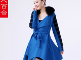 专柜F188 2014韩版新款中长款貂绒大衣女墨格狐狸毛衣针织衫