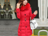 2014新款正品羽绒服冬中长款加厚外套 大码连帽羽绒棉服女潮