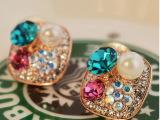 日韩风格可爱耳饰彩色水晶珍珠镶钻女气质百搭耳钉厂家直销