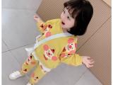春季新款女童长袖裤子两件套女宝小可爱脸批布印小丑套装潮款