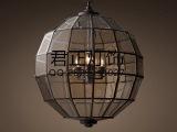 现代北欧美式乡村复古酒吧餐厅吊灯 后工业舱吊灯玻璃铁艺灯具