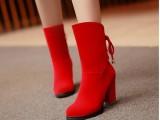 新品粗跟超高跟短靴红色鞋结婚鞋新娘鞋婚庆鞋伴娘鞋蓝色 SNM