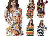 2014大码女装胖mm连衣裙韩版中长款法兰绒女士宽松女式上衣