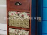 新款优质供应仿红木置地式靠墙抽屉收纳柜 加工草编储物柜抽屉