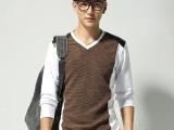 2014秋季学生纯棉拼接V领男式长袖t恤潮 新款男装韩版修身打底