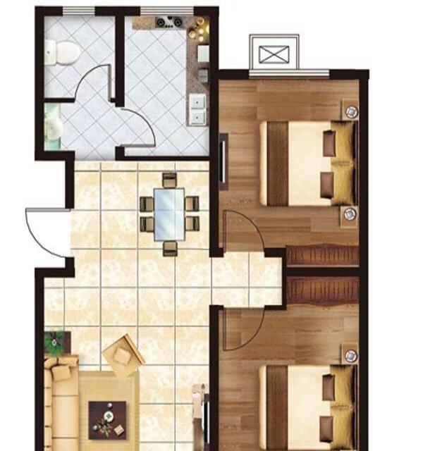 靓景名居 2室2厅1卫