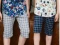 2015新款夏装男童裤子 中童裤韩版格子童裤 潮款
