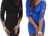 【工厂直销】欧美新款性感修身连衣裙 蕾丝拼接镶钻中袖夜店短裙