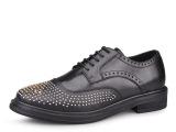 工厂订货 手工定制布洛克铆钉低帮系带正装皮鞋真皮男式鞋子