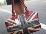 欧美风格拼色搭配米字铆钉包大容量手提斜跨包可做旅行包国旗包包