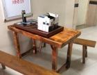实木茶桌子带二条板凳