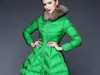 2014冬装新款艾红茜奢华貂子毛领纯色中长款修身加厚长袖羽绒服女