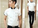 高品质2014春夏新品男装韩版短袖衬衫男修身小立领男式衬衣打底