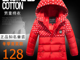 男童棉衣2014冬季新款童装 中长款波点儿童羽绒棉服外套加厚冬
