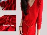20158羊毛针织红色连衣裙冬季韩版修身V领长袖连衣裙厂家直销代