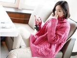 高领毛衣套头女宽松秋季女装中长款韩版蝙蝠袖针织衫加厚外套冬