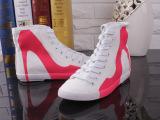 韩版春款高跟鞋图案白色帆布鞋 平底内增高帮鞋休闲运动鞋球鞋女