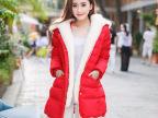 2014冬装新款韩版修身加厚保暖外套柔软兔毛羽绒服女款中长款