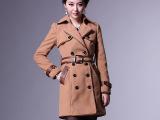 2012秋冬装新款女装加厚力挺版型重工包皮边双牌扣配腰带外套风衣