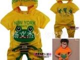 小青蛙 夏款儿童纯棉套装 可爱卡通男童女