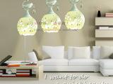 陶瓷餐吊灯 现代简约白色饭厅餐厅水晶吊灯三头 小鸟吧台LED灯具